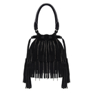 Suédine Double Tassel Grab Bag in Black