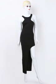 Black Cut Out Asymmetric Dress