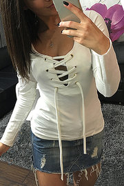 White Casual Lace-up Long Sleeves T-shirt