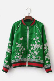 Fashion Embroidery Bomber Jacket In Green