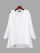 V-neck Dress With Split Sleeve In White