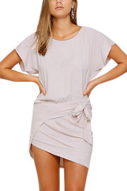 Front Wrap Mini Dress With Self-tie