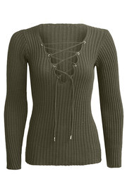 Army Green Plunge Lace-up Pull en maille à manches longues