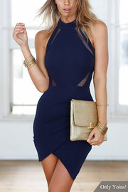 Back Oco Out Wrap Front Vestido Midi