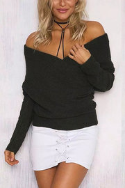 Dark Khaki Sexy Off-shoulder Wrapped Sweater