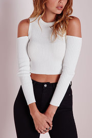 Fashion White Thread Crop Shirt Cold Shoulder Tricoté