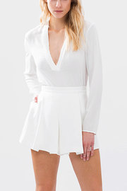 High Waist Pleated Skort in White