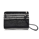 Wave Woven Artificial Fur Overlay Clutch Bag