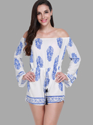 White Leaf Print Off-the-shoulder Playsuit