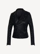 Black Lapel Collar Biker Jacket with Zipper Detail