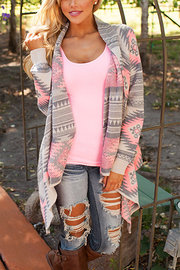 Irregular Imprimer Rose Cardigan