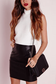 Black Leather-look Mini Skirt with Zipper Details
