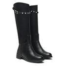 Leather-look Knee High Boots with Studded Strap