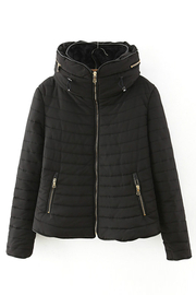 Black Anorak with Furry Collar