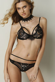 Pizzo nero sexy Lingerie Set With No Falsies