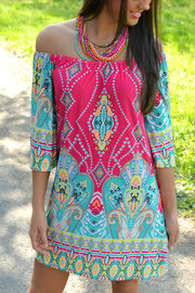 Paisley Pattern Off Shoulder Mini Dress & Beachwear