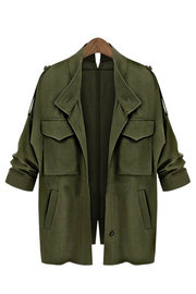 Exército Verde Loose Fit Trench Outwear