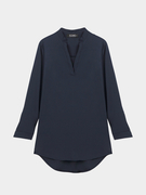 Navy V Neckline Shirt with Adjustable Sleeve