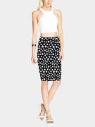 Pencil Midi Skirt in Star Print