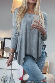 Grey Pleated Asymmetrical Bottoming Blouse