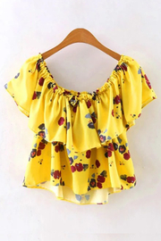 Yellow Floral Print Off Shoulder Frilled Top