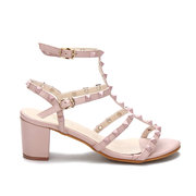 Pink T-bar Design Rivets Embellishment Block Heel Gladiator Sandals