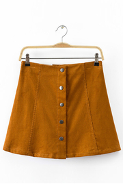 Yellow Button Through A Line Skirt in Corduroy