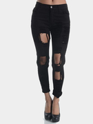 Boyfriend Noir Denim taille haute Shredded Rips Jeans