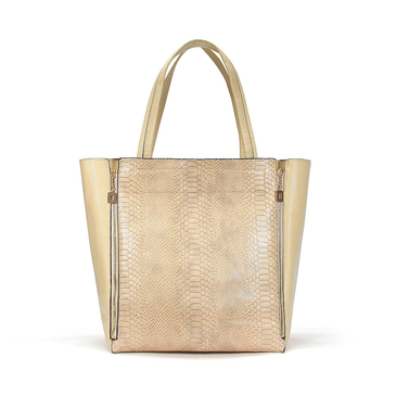 Snake Print Large Shopper Bag With Pouch In Apricot