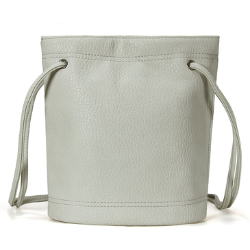 Mini Light Grey Leather Bucket Across Body Bag