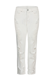 White Jeans with Ripped Detail