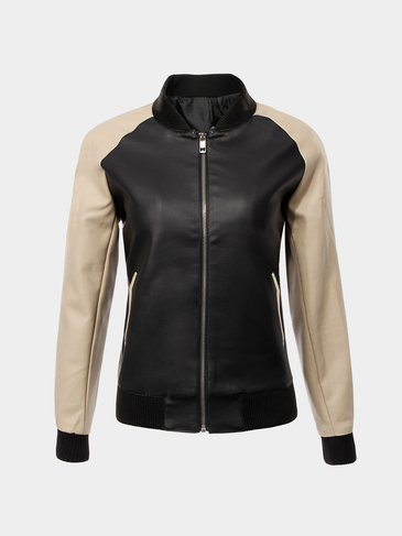 Color Block Faux Leather Jacket