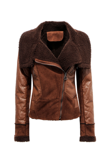 Shearling Zip-up Biker Jacket