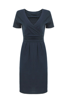 Closet Wrap Front Pleated Dress In Blue