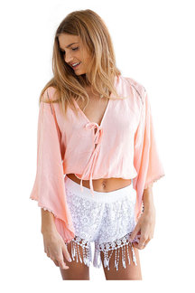White Crochet Lace Shorts With Tassel