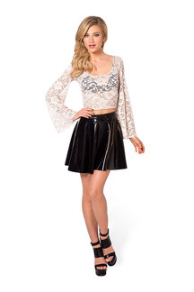Bell-Sleeved Sheer Crochet Lace Crop Top In White