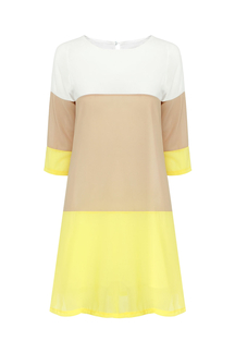 Three Color Block Chiffon Shift Dress