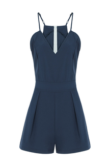 V-neck Cami Playsuit In Blue