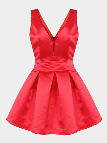 Red Plunge Neck Party Dress