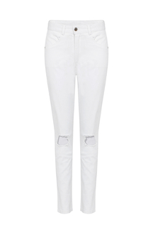 White Skinny Jeans With Ripped Details
