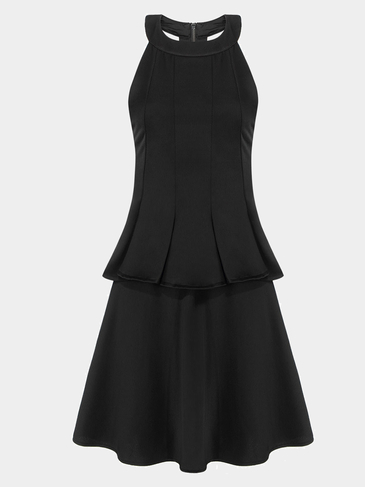 Black Halter Neck Party Dress With Flouncing Hem