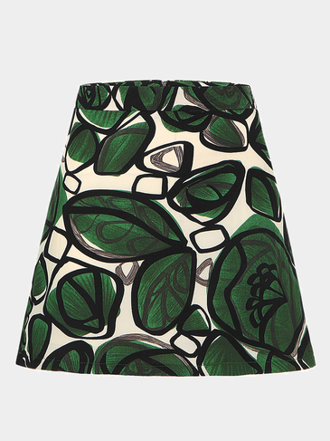 Green A-Line Mini Skirt In Graffiti Print