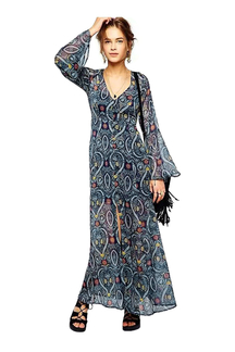 Heart Print Bell-sleeved V-neck Chiffon Maxi Dress
