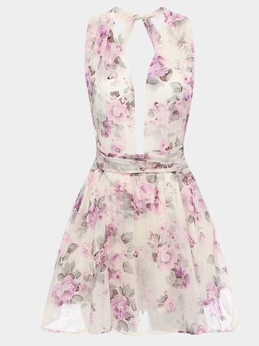 Floral Print Playsuit With Plung V Neckline