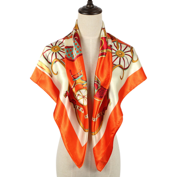 Cab Print Square Scarf In Orange