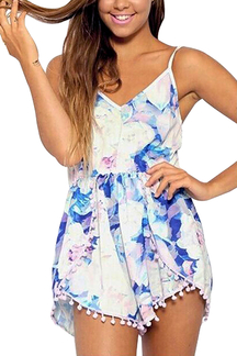 White Playsuit With Butterfly Pom Pom Trims In Floral Print