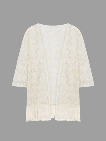 White Lace Embroiderd Kimono With Tassels