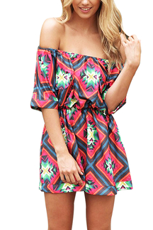 Tribal Print Off the Shoulder Elastic Waist Playsuit
