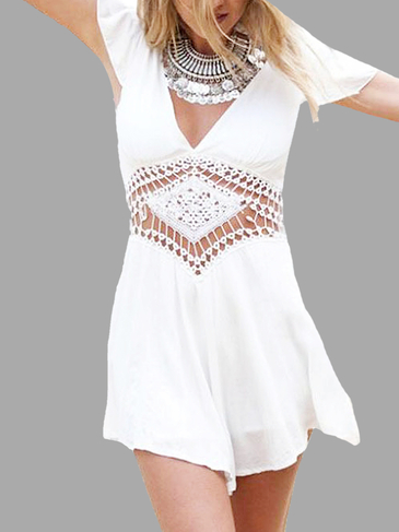 White Ruffle Trim Sleeve Playsuit