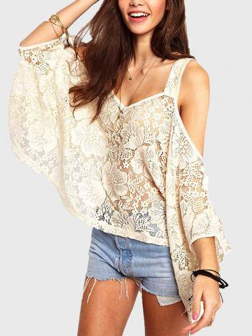 White Hollow Lace Loose Blouse